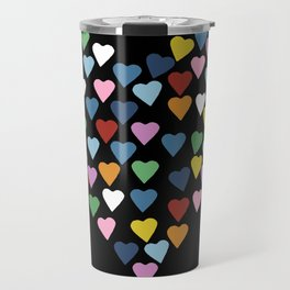 Hearts Heart Black Travel Mug