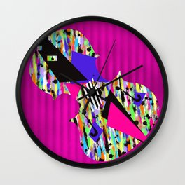 Cello Abstraction on Hot Pink Wall Clock