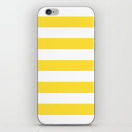 Banana yellow - solid color - white stripes pattern iPhone Skin