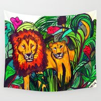 lions Wall Tapestries featuring Lions are waiting by Marci Donato
