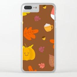 Cute autumn corgi, pumpkin and spiced latte Clear iPhone Case