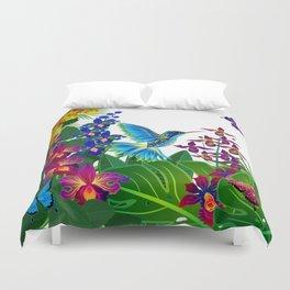 Tropical Hummingbird Pattern 1 Duvet Cover