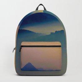 Minimalist Misty Foggy Mountain Landscape Purple Blue Turquoise Backpack