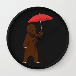 Bear Holding an Umbrella - Simplistic Design Wall Clock