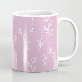 Modern spring pink lavender floral twigs hand drawn pattern Coffee Mug
