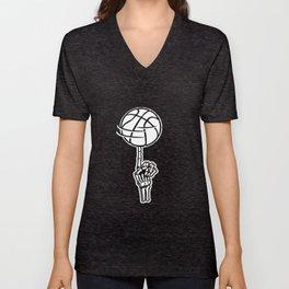 Basketball Skeleton Triko Ball Gift Unisex V-Neck