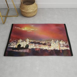 Fine art poured watercolor painting of colonial churches on the Plaza de Armas in Cusco Rug