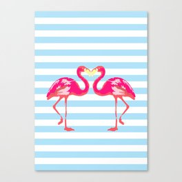 Flamingo poster, t-shirt, Watercolor, pink in blue stripes Canvas Print