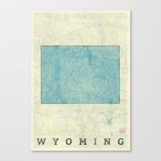 Wyoming State Map Blue Vintage Canvas Print