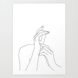 Hands line drawing illustration - Eva Art Print