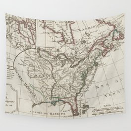 Vintage Map of North America (1795) Wall Tapestry