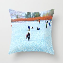 Sledders Throw Pillow