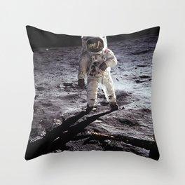 Apollo 11 - Iconic Buzz Aldrin On The Moon Throw Pillow