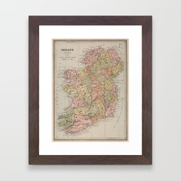 Vintage Map of Ireland (1883) Framed Art Print