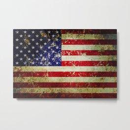 Grunge Vintage Aged American Flag Metal Print