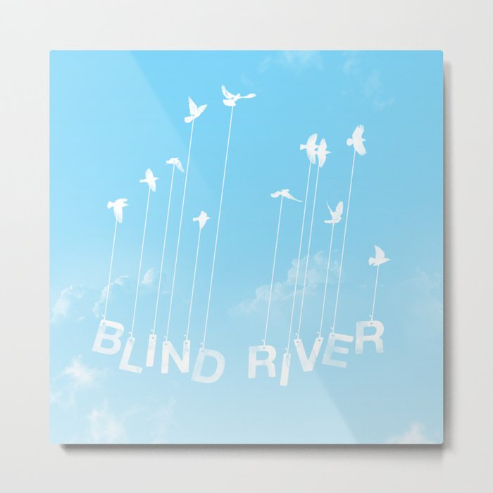 Blind River Birds (white) Metal Print