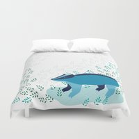 badger Duvet Covers featuring Blue Badger by Ellinor Flood