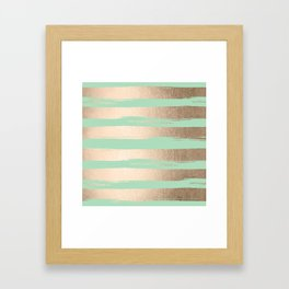 Painted Stripes Gold Tropical Ocean Green Framed Art Print