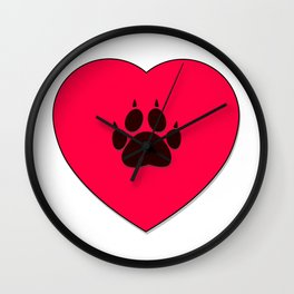 Cat Paw Print In Red Heart Wall Clock