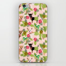 Chihuahua hawaii hula tropical island pineapple dog breed chihuahuas pet pattern iPhone Skin