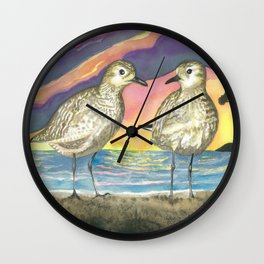 Pacific Golden Plovers Wall Clock