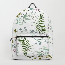 Pink forest green pastel watercolor berries floral Backpack
