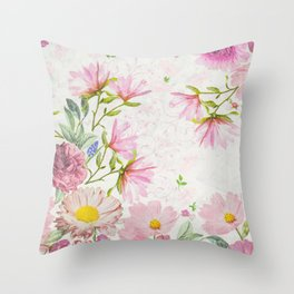 Pink Floral Drawing Throw Pillow