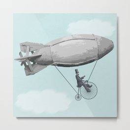 "The Old ""Lincoln on a Penny Farthing Zeppelin"" Dream Again Metal Print"