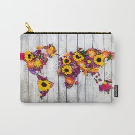French Floral Bouquet on Rustic Upcycled Palette Wood World Map Art Carry-All Pouch