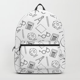 School pattern on the white Backpack