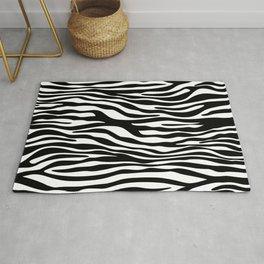 Animal Print, Zebra Stripes - Black White Rug