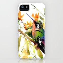Birds and Flowers, Hummingbird Orange Green art iPhone Case