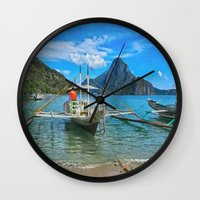 philippines Wall Clocks featuring Palawan Beach Philippines by Clive Eariss
