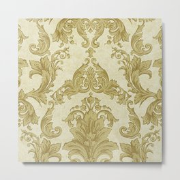 Gold Cream Paisley Floral Pattern Metal Print