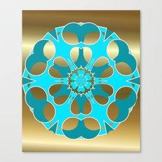 Lite Blue Snowflake on Gold Canvas Print