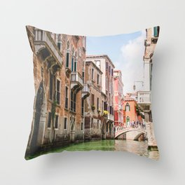 Venice Brownstones   Europe Italy City Architecture Photography of Venice Canals Throw Pillow