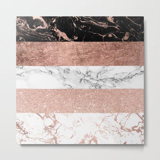 Modern chic color block rose gold marble stripes pattern Metal Print