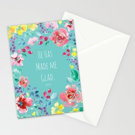 He has made me glad Bible quote Stationery Cards