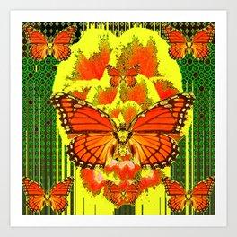 ABSTRACT ART DECO MONARCH BUTTERFLIES YELLOW-GREEN Art Print