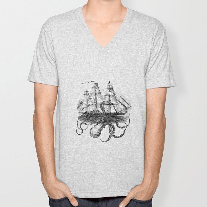 Octopus Attacks Ship on White Background Unisex V-Neck