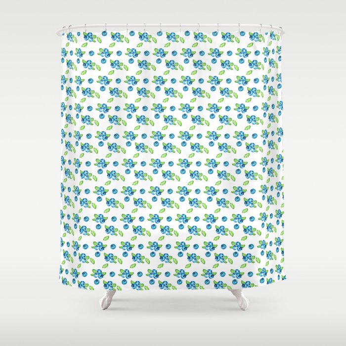 Blueberry Watercolour Pattern Shower Curtain