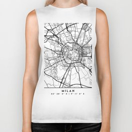MILAN ITALY BLACK CITY STREET MAP ART Biker Tank