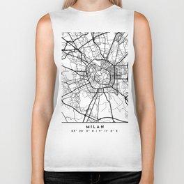 MILAN ITALY BLACK CITY STREET MAP ART Biker Tank