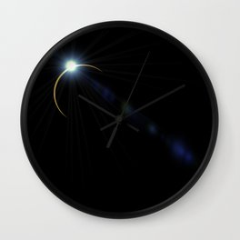 blue eclipse lens flare with flashlight Wall Clock