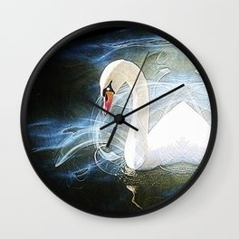 Swans by Lika Ramati Wall Clock