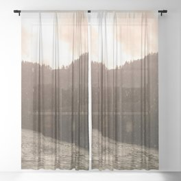 Pacific Northwest River Sunset Sheer Curtain