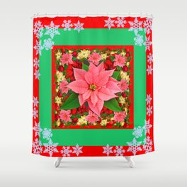 DECORATIVE SNOWFLAKES RED & PINK POINSETTIAS CHRISTMAS ART Shower Curtain