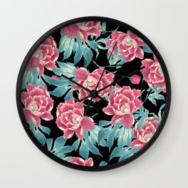 Pink Flowers on Black Wall Clock