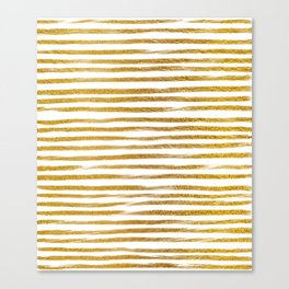 Squiggly Gold Foil Brush Stroke Hand-Painted Lines on White Canvas Print