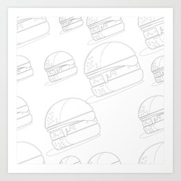 Burger Line Art Neck Gaiter Burger Neck Gator Art Print